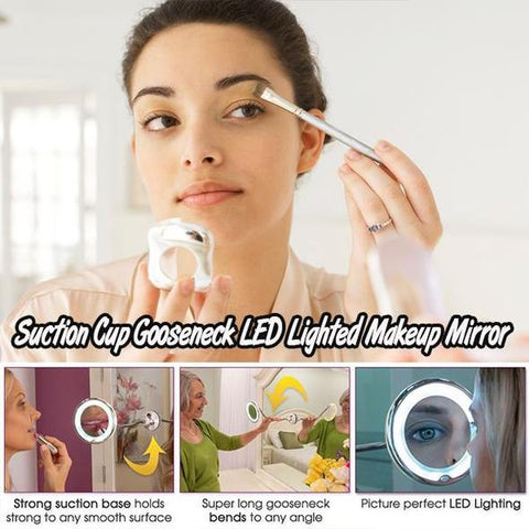 Suction Cup Gooseneck LED Lighted Magnifying Makeup Mirror