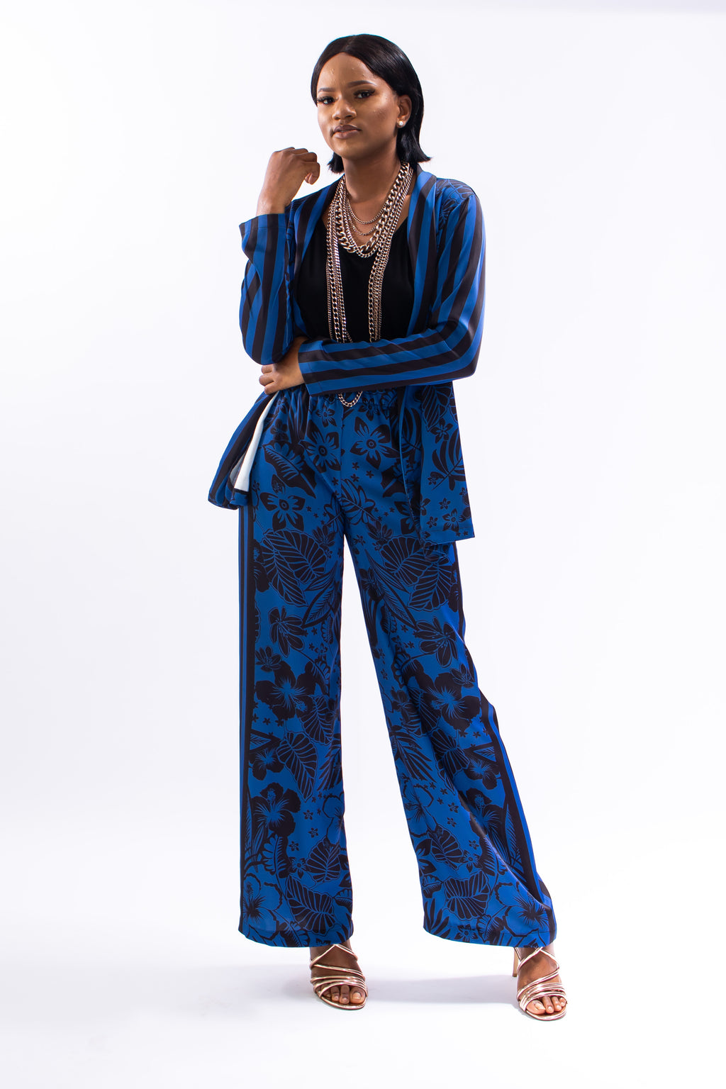 Blue Floral Co-ord Pants
