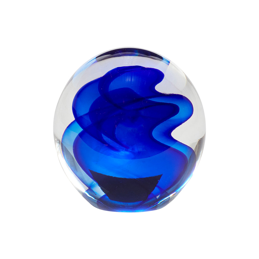wavy blue glass paperweight