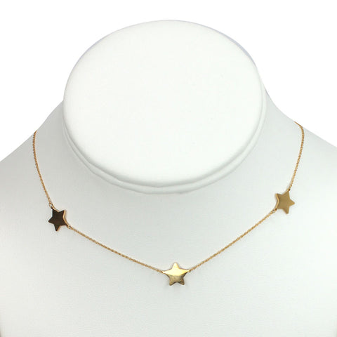 "Gold Plated Stainless Steel ""3 starts"" Necklace"