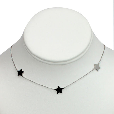 "Silver Plated Stainless Steel ""3 starts"" Necklace"