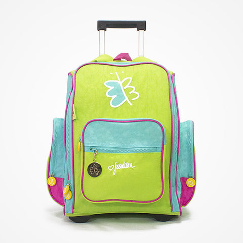 Embroidered Rolling Backpack for Girls Freedom | Green - biglove
