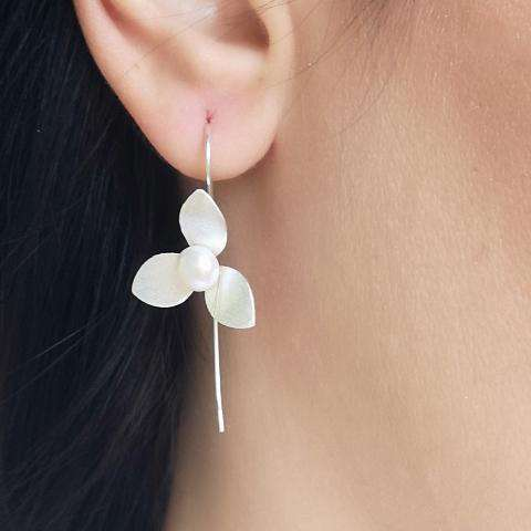 Sterling Silver Flower and Pearl Threader Earrings