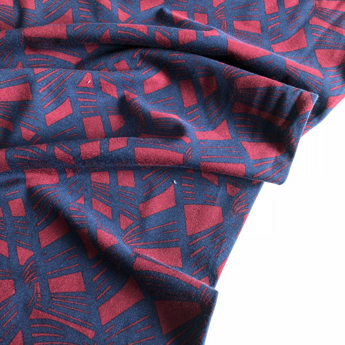 REMNANT 1.05 meter Linked Together - Cotton Jersey (Ruby/ Navy)