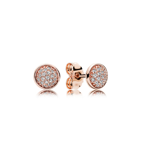 Stud earrings in PANDORA Rose with 38 bead-set clear cubic zirconia
