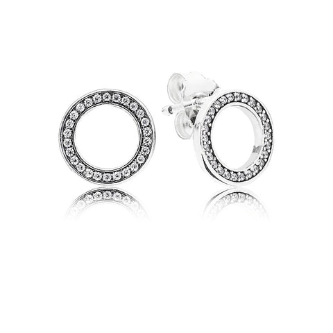 A pair of silver earrings with cubic zirconia