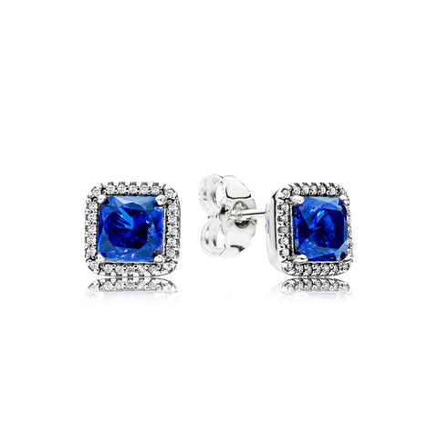 Stud earrings in sterling silver with true blue crystals and clear cubic zirconia