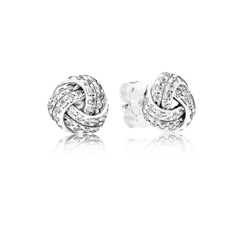 A pair of love knot studs by pandora.