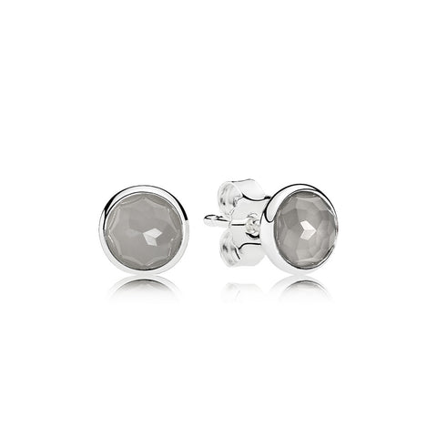 A pair of silver pandora studs with grey moonstone center