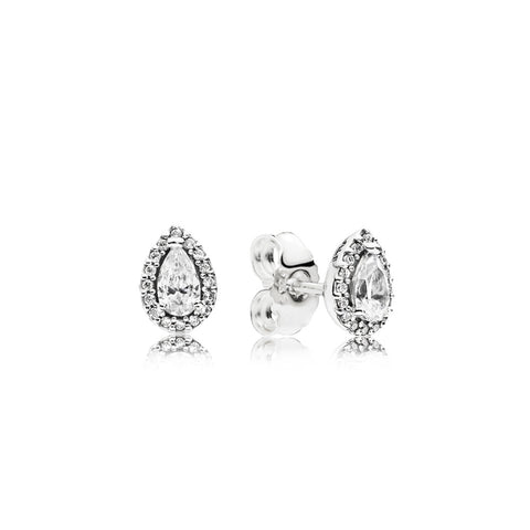 Stud earrings in sterling silver with clear cubic zirconia