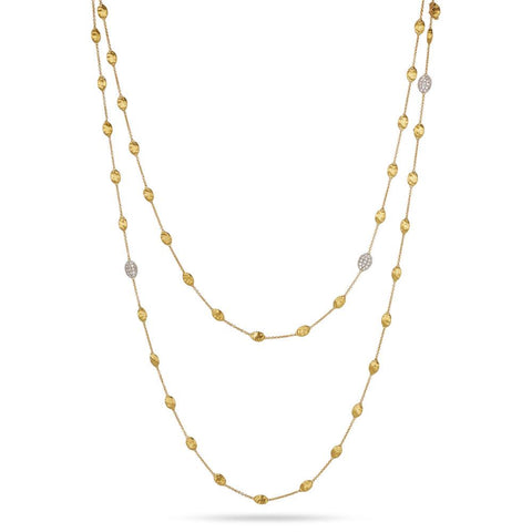A gold necklace with diamonds from the Siviglia collection by Marco Bicego Santa Fe Jewelry.