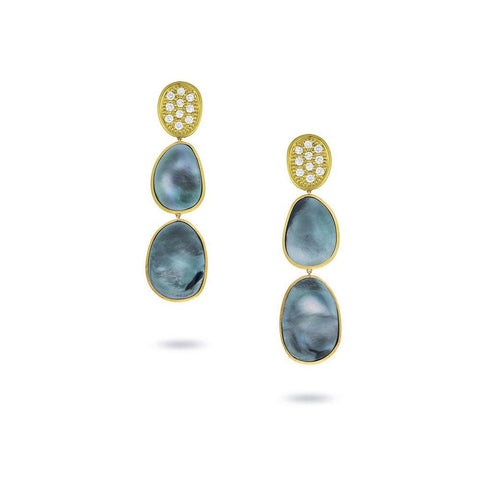 A pair of black mother of pearl drop earrings Santa Fe Jewelry.