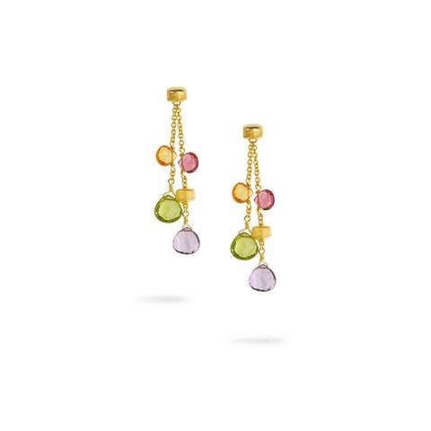 A pair of mixed gemstone earrings in gold by Marco Bicego Santa Fe Jewelry.