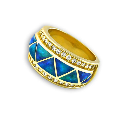 A blue opal gold ring by Gold House Santa Fe.