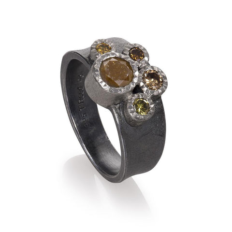 A Todd Reed ring with beautiful autumn diamonds Santa Fe Jewelry.
