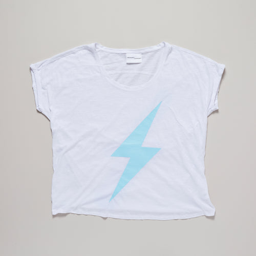 Lightning bolt t-shirt, mykonos blue on white loose fit organic cotton tee — Ordinary Luminary