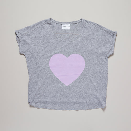 Loveheart t-shirt, light grey loose fit with pink lavender print |organic cotton| Ordinary Luminary