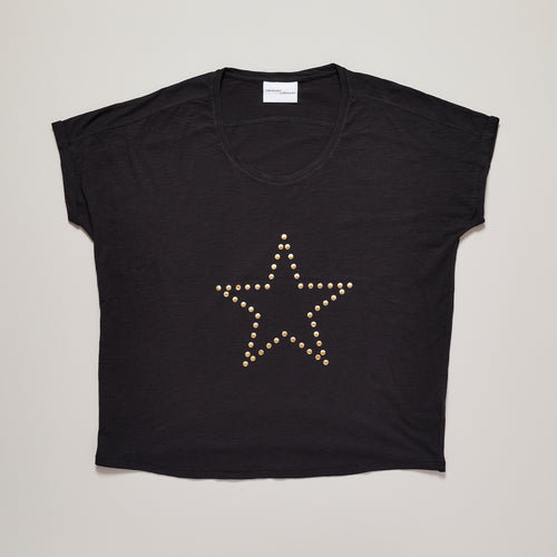 Star t-shirt in black with metallic gold star  — Ordinary Luminary