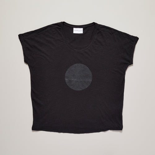 Womens t-shirt with black circle on loose fit organic cotton — Ordinary Luminary