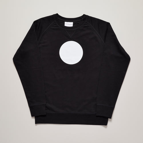Mens black medium fit sweatshirt with which circle graphic, limited edition— Ordinary Luminary