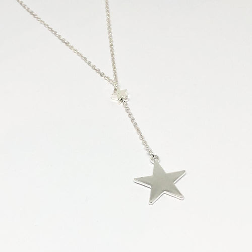 Silver double star charm necklace with extender chain — Ordinary Luminary