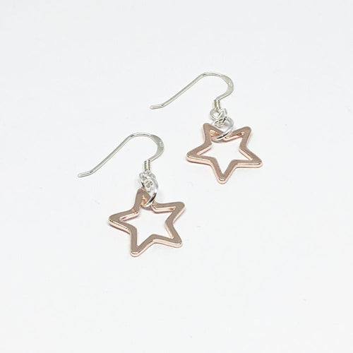 Sterling silver hook earrings with rose gold star charms