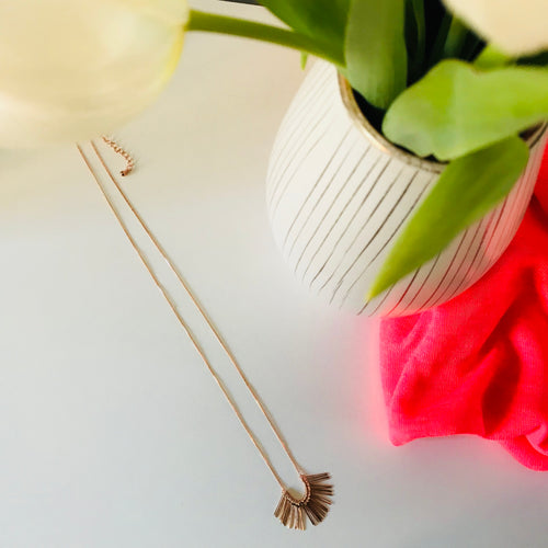 fringe extender chain rose gold necklace