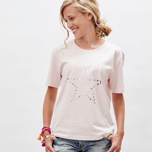 Star t-shirt in candy pink and silver on organic cotton— Ordinary Luminary