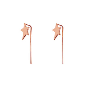 rose gold star threader earrings