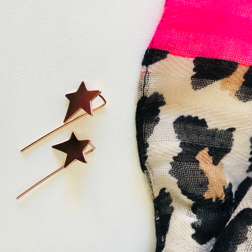 star earrings in gold, star threader earrings