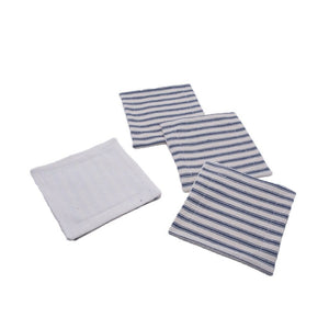 Striped Ticking Coaster Set (4) - Blue