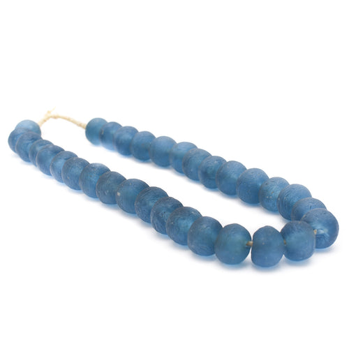 African Recycled Glass Beads - Indigo
