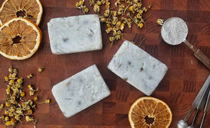 Orange & Lavender Bentonite Clay Soap Bars w/ Chamomile Flowers