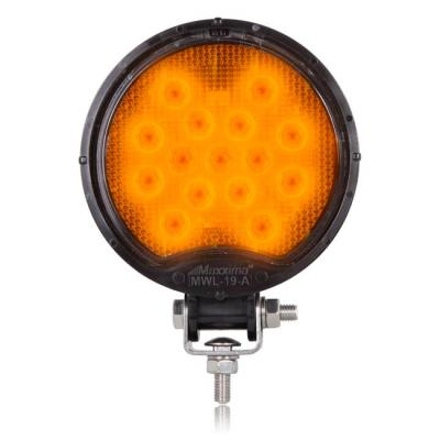 Maxxima® Round 15 LED Amber Work Light 12/24VDC [MWL-19Y-A]