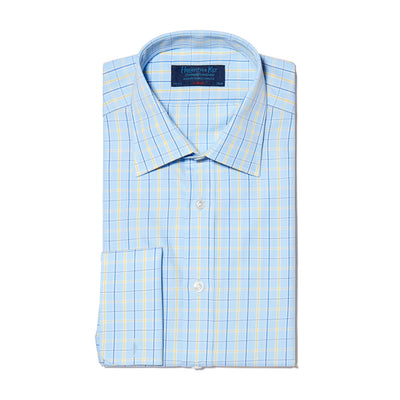 Yellow & Blue Check Poplin Cotton Classic Fit, Classic Collar, Double Cuff Shirt