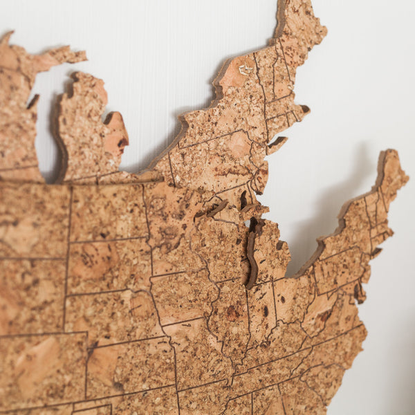 Cork Map of the United States - Large Size, Wall Decor - GEO 101 DESIGN