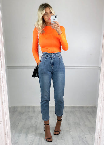 Leah Ribbed High Neck Top - Neon Orange
