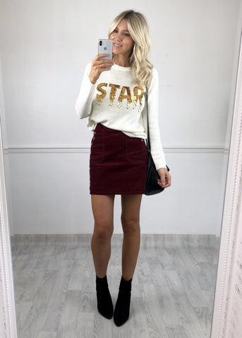STAR Sequinned Jumper - Ivory