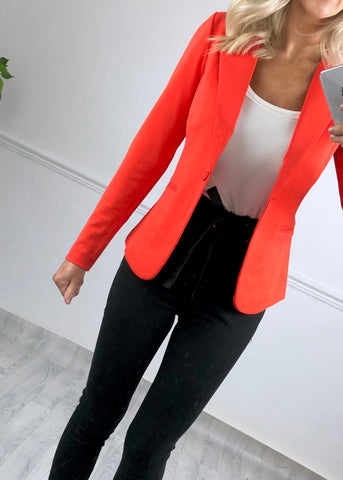 Jennifer Poinciana Orange blazer