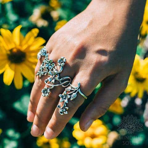 Sacred Blooming Flowers Ring Set