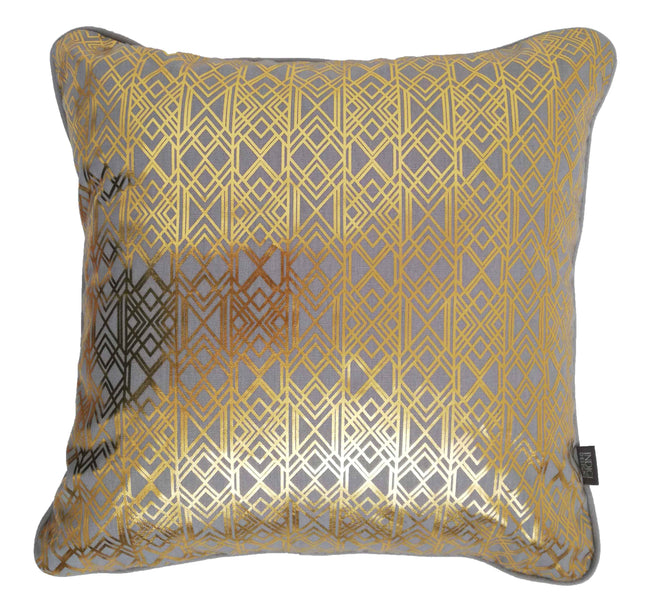 Deco Gold on Grey Foiled Cushion Cover