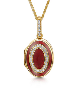 Oval Diamond & Red Enamelled Locket