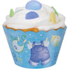 Blue Clothesline Baby Shower Cupcake Wrappers, 12ct