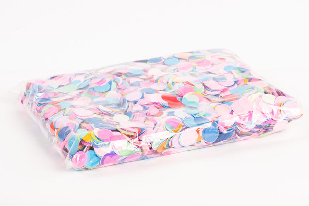 1kg bag of colourful round confetti V.2