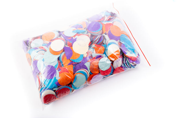 1kg bag of large colourful round confetti