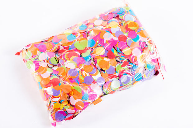 1kg bag of colourful round confetti