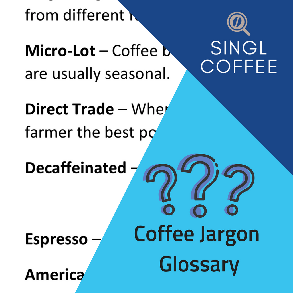 Singl coffee logo and cartoon question marks on a blue background
