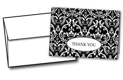 "65 lb Formal Black & White damask Thank You Note, measure (3.375"" x 4.875"") , compatible with copier,inkjet and laser , matte both sides"