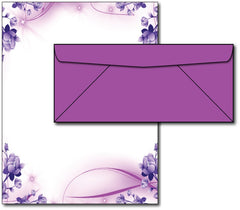 Purple Passion Stationery Paper & Envelopes -  40 Sets, compatible with inkjet and laser