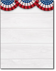 USA patriotic american stationery paper red white blue banners independence